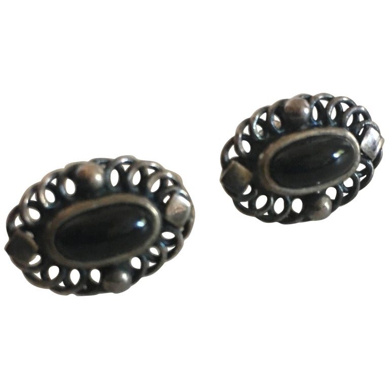 Georg Jensen Sterling Silver 2004 Annual Earrings with Black Onyx 'Stickers'