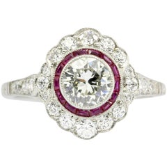 .63 Carat Diamond Ruby Halo Handmade Platinum Ring