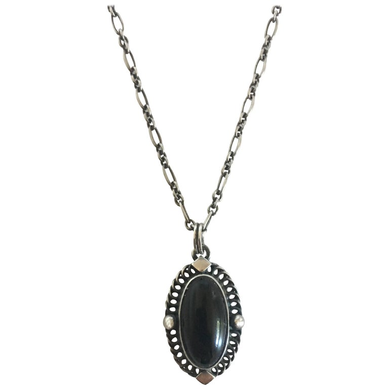 Georg Jensen Sterling Silver Annual 2004 Pendant Necklace with Black Onyx