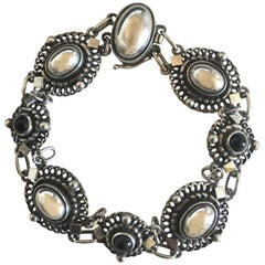 Georg Jensen Sterling Silver Bracelet No. 419 with Black Onyx Stones