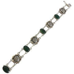 Georg Jensen Silver Bracelet No. 12 with Green Agates
