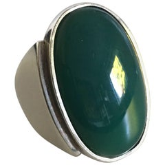 Large Georg Jensen Sterling Silver Ring No. 209 with Green Agate