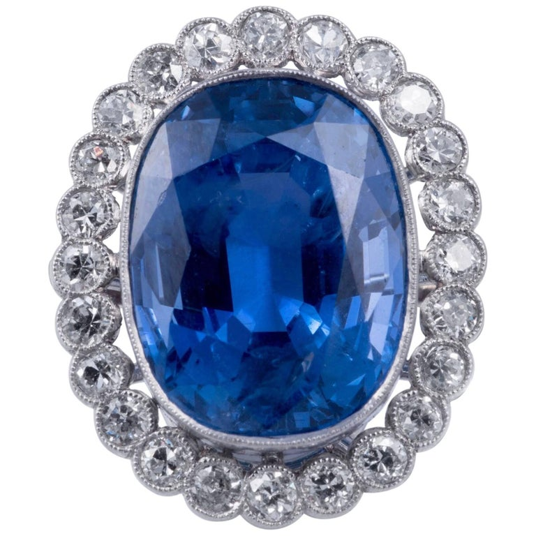 12.41ct Natural Blue Sapphire and Diamond Ring