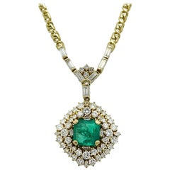5.05 Colombian Emerald and Diamond Yellow Gold Necklace