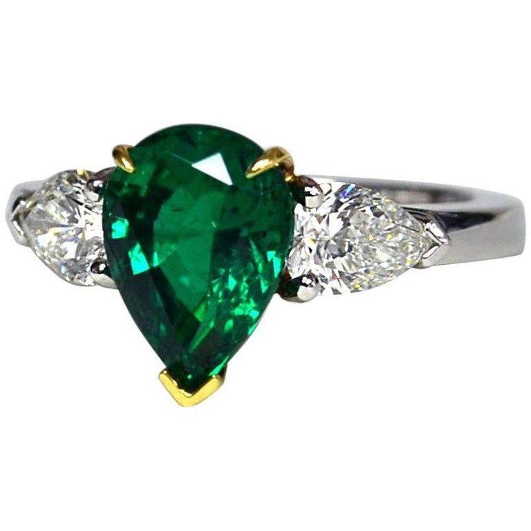 Pear Colombian Emerald Diamond Platinum Three-Stone Ring