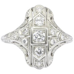 Art Deco Platinum Diamond Shield Ring, circa 1920