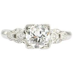 Art Deco Platinum 1.04 Carat Old European Cut Diamond Engagement Ring