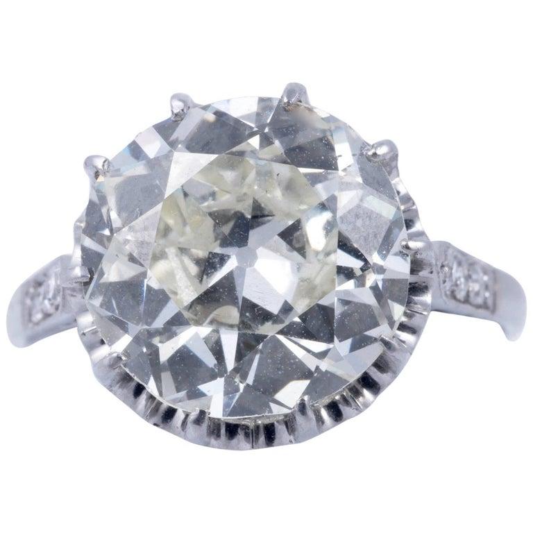 Magnificent 5.35 Carat European Cut Diamond Solitaire For Sale