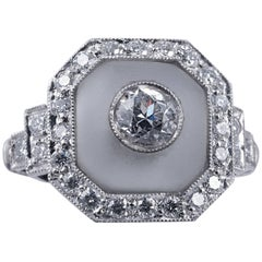 Rock Crystal and Art Deco Style Diamond Ring