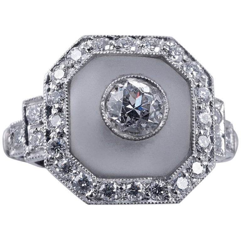 Rock Crystal and Art Deco Style Diamond Ring For Sale