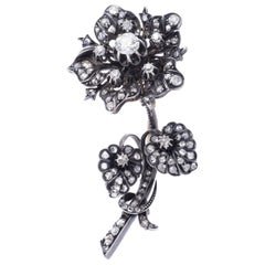 Magnificent 'En Tremblant' Diamond Flower Brooch
