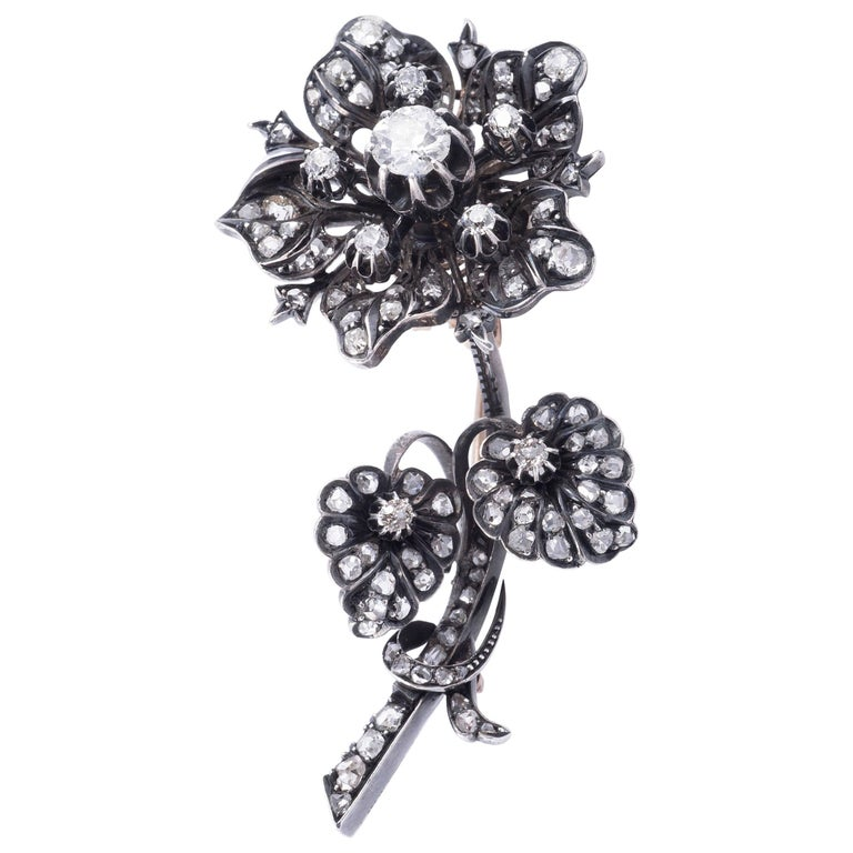 Magnificent 'En Tremblant' Diamond Flower Brooch 1
