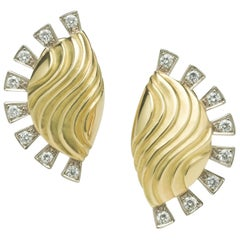 Annabel Eley White Diamond Earrings Yellow White Gold