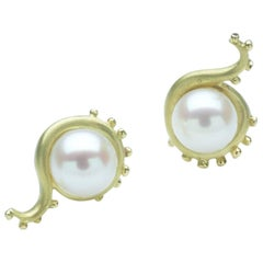 Annabel Eley Pearl Yellow Gold Earrings
