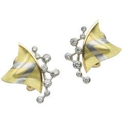 Annabel Eley White Diamond Yellow Gold Platinum Earrings