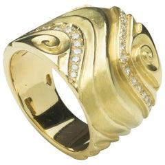 Annabel Eley White Diamond Yellow Gold Band Ring