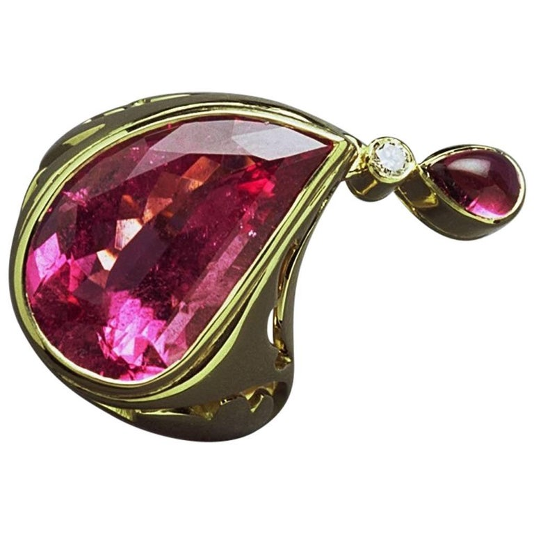 Annabel Eley Pink Tourmaline White Diamond Yellow Gold Cocktail Ring