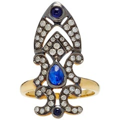 Yvonne Leon 18 Karat Gold Ring Crown Blue Sapphire Diamonds