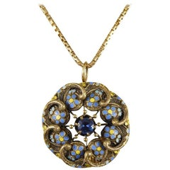 Victorian Sapphire Enamel Flower Pendant in 14 Carat Gold with Antique Chain