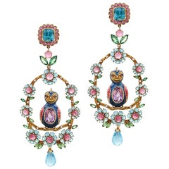 14K gold, tsavorite, blue topazes, rubellite Maharani Love Bird Earrings