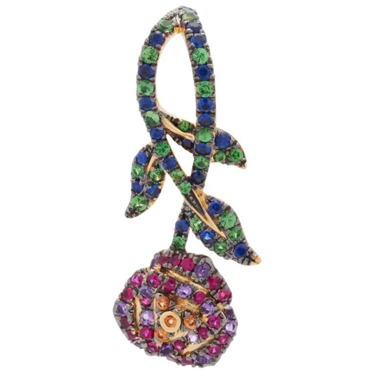 Yvonne Leon 18K gold Earring with Sapphire, Tsavorites, Amethyst, Pink Sapphir For Sale
