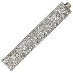 1920s French Art Deco Diamond Platinum Bracelet