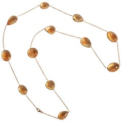 Citrine Cabochons Long Necklace by Marion Jeantet