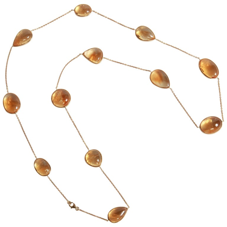 Citrine Cabochons Long Necklace by Marion Jeantet For Sale