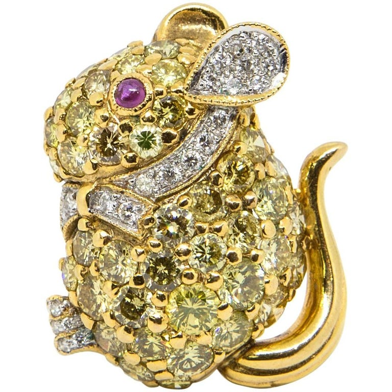 Diamond, Gold and Ruby Mouse Brooch