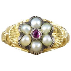 Antique Ruby and Pearl Flower Cluster Ring in 15 Carat Gold
