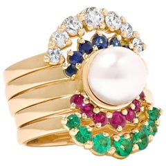 Yvonne Leon 18k Gold Rings with Diamonds, Sapphire, Ruby, Emerald, Pearl Akoya
