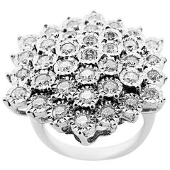 White Gold Flower with Brilliant Cut Diamonds Ring