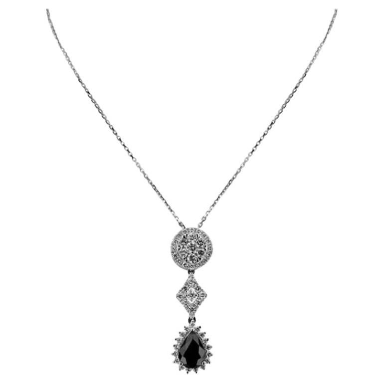 White Gold with Pear Cut Sapphire and Brilliant Cut Diamonds Necklace/Pendant