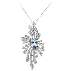 EdwardianPlatinum Pendant Set with an Aquamarine and Brilliant Cut Diamonds