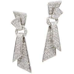 Pair of Art Deco Diamond Drop Earrings Set in 18 Karat Gold, 5.04 Carat Total