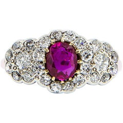 Gorgeous Ruby and Diamond Cluster Ring Set in 18 Carat White Gold
