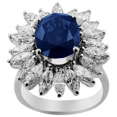 White Gold Sapphire with Marquise Cut Diamonds Ring