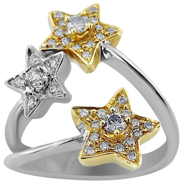 White Gold Triple Star with Brilliant Cut 0.40 ct Diamonds Ring