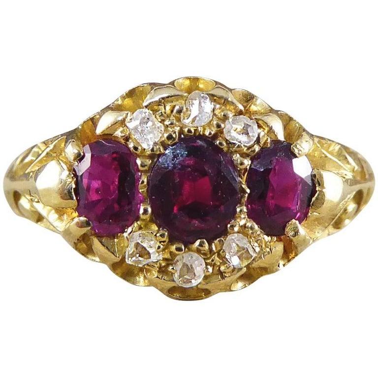 Edwardian Garnet and Diamond Ring Modeled in 18 Carat Gold