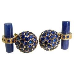 5.23 Carat Natural Blue Sapphire, Sapphire Stick Back Rose Yellow Gold Cufflinks