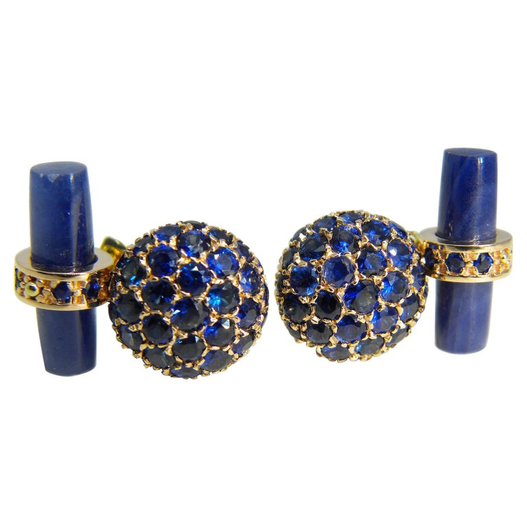 5.23 Carat Natural Blue Sapphire, Sapphire Stick Back Rose Yellow Gold Cufflinks