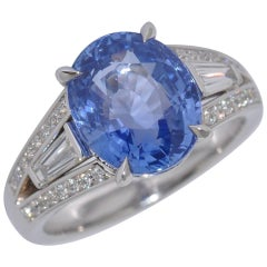 Sapphire 5.91 Ct Madagascar GRS Certified and Diamonds Palladium Ring
