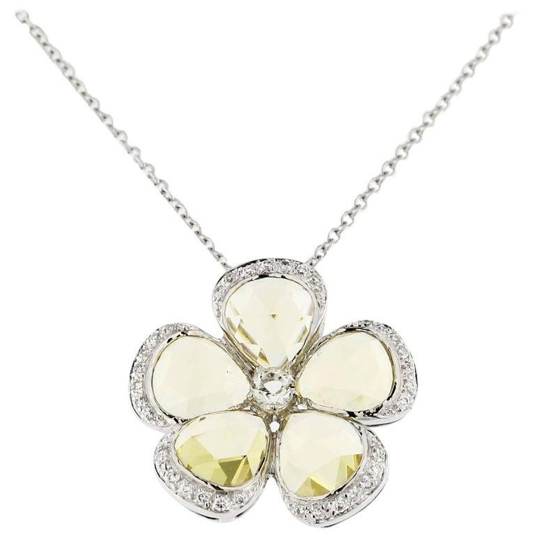 Jona Citrine White Diamond 18 Karat White Gold Flower Pendant Necklace