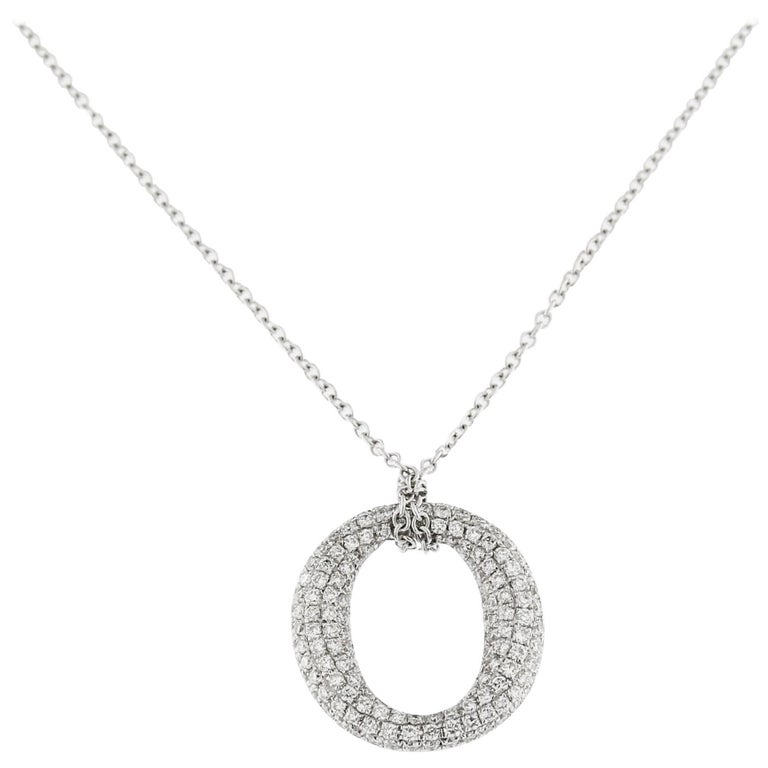 Jona White Diamond 18 Karat White Gold Bodoni Pendant Necklace