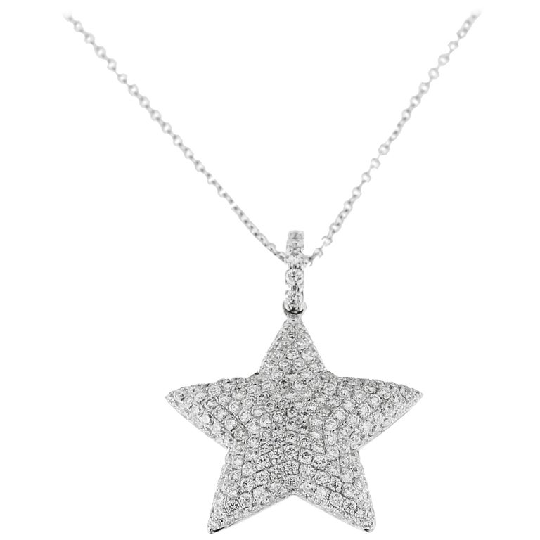 Jona White Diamond Star 18 Karat White Gold Pendant Necklace