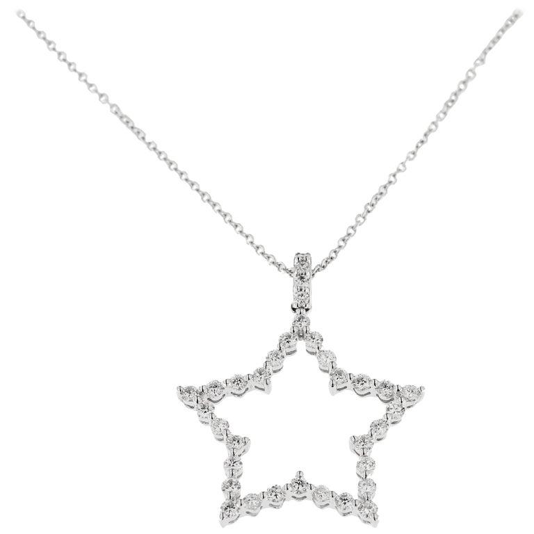 Jona White Diamond 18k White Gold Star Pendant Necklace