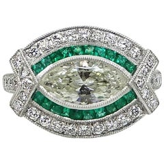 Marquise Diamond and Emerald Platinum Ring