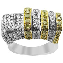 White Gold with Fancy Yellow Brilliant Cut Diamonds Ring