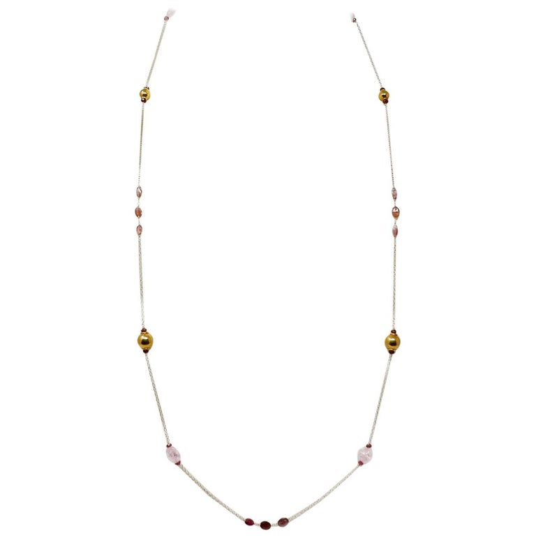 Morganite and Rubellite Gold Bead Sautoir Necklace