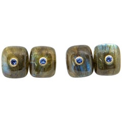 Pair of Cushion Shaped Labradorite, 18 Karat Gold and Sapphire Cufflinks